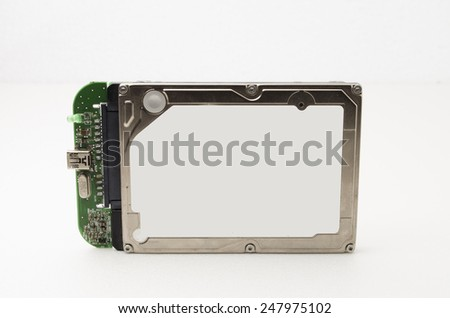 Laptop Hard Disk Drive Attached with usb port for portable use. All information about the hard disk was removed. Focus on the closes distance. - stock photo