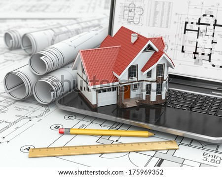 Laptop, house and blueprint with project. 3d - stock photo