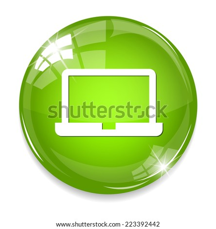 Laptop Icon on Round Button - stock photo