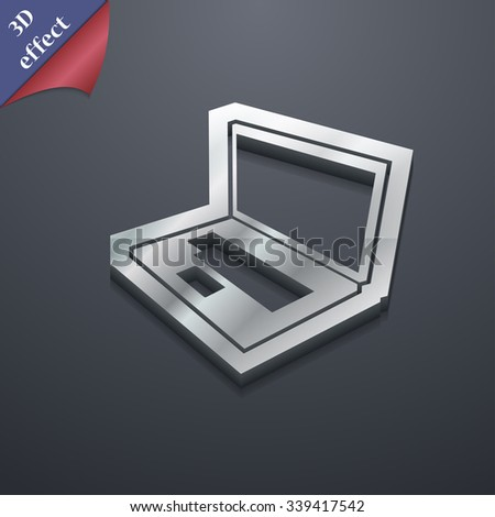 Laptop icon symbol. 3D style. Trendy, modern design with space for your text illustration. Rastrized copy - stock photo