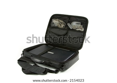 Laptop in a case isolated on a white background
