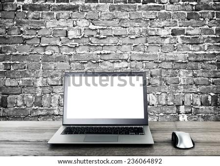 Laptop in interior  - stock photo