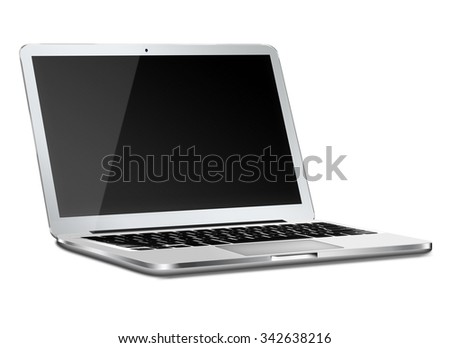 Laptop in macbooke style mockup with black screen and shadows isolated on white background. Highly detailed illustration.