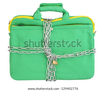 Laptop in mint bag closed with chains and padlock. Isolated over white background - stock photo