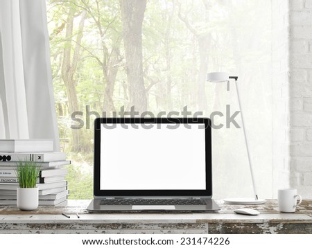 Laptop in room, outdoor view, 3d illustration - stock photo