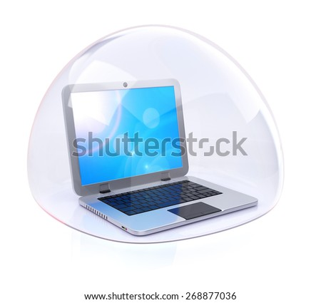 Laptop in transparent bubble isolated on white. Computer protection concept - stock photo