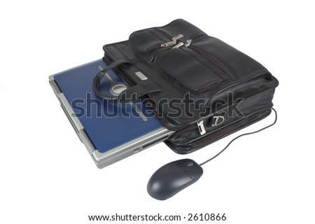 laptop inside a briefcase with mouse on a white background