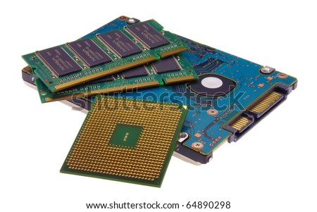 Laptop internal hardware parts isolated on a white background - stock photo