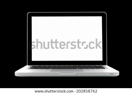 Laptop isolated on black background - stock photo