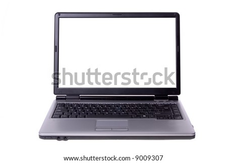 Laptop isolated on white - stock photo