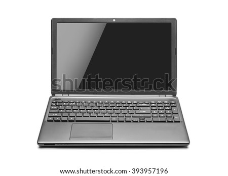 Laptop isolated on white background with clipping path. - stock photo