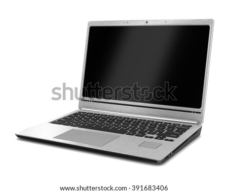 Laptop. Isolated on white. 3d illustration - stock photo