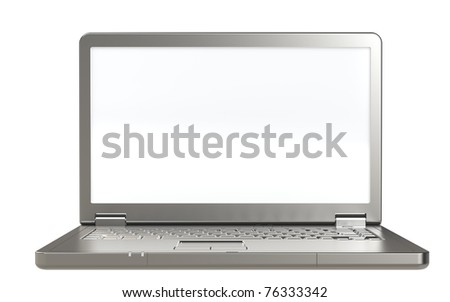 Laptop isolated on white. Isolated white screen. Front view. - stock photo