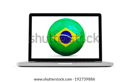 Laptop isolated on white with a ball from Brazil, clipping path included - stock photo