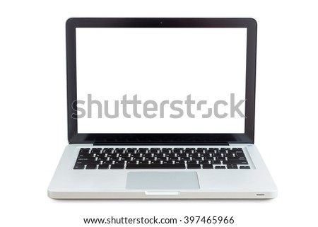 laptop isolated on white with clippiing path inside data - stock photo