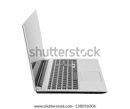 Laptop isolated on white with clipping path - stock photo