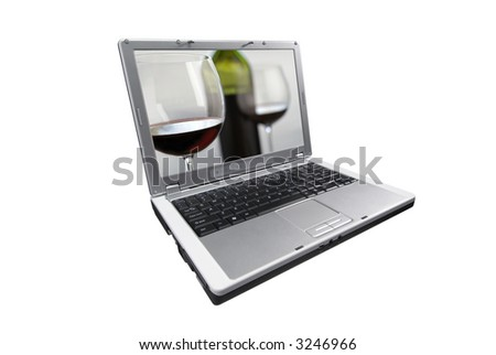laptop isolated on white with picture of wine glasses and bottle on screen - stock photo