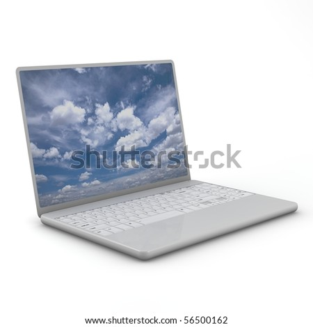 Laptop isolated.  Three-dimensional,  isolated on white - stock photo