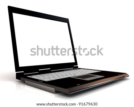 Laptop isolated with blank screen.