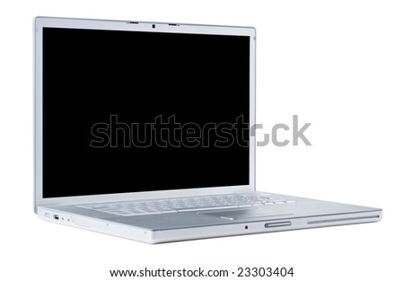 Laptop isolated [with clipping paths for screen] - stock photo