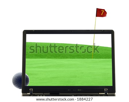 laptop isolated with putting green, golfball and flag in background