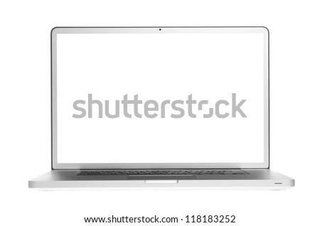 Laptop isolation on white background - stock photo