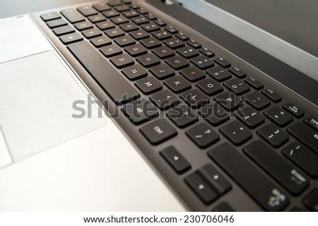 Laptop keyboard close up. selective focus - stock photo