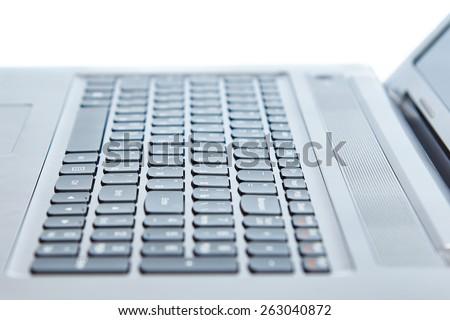 Laptop keyboard isolated on white background - stock photo