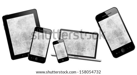 Laptop, mobile phone, tablet pc and computer