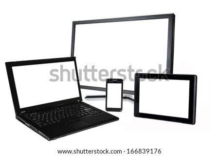 laptop,monitor,smart phone,tablet on white background - stock photo