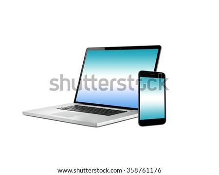 Laptop notebook computer, mobile phone - stock photo