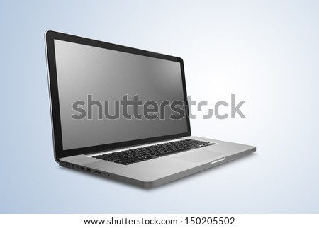 laptop notebook computer on blue background