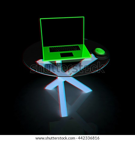 laptop on an exclusive table on a black background. 3D illustration. Anaglyph. View with red/cyan glasses - stock photo
