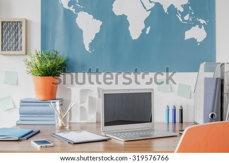 Laptop on the desk in the children room  - stock photo