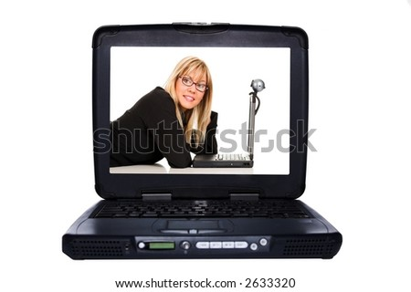 laptop on white background, woman at display monitor