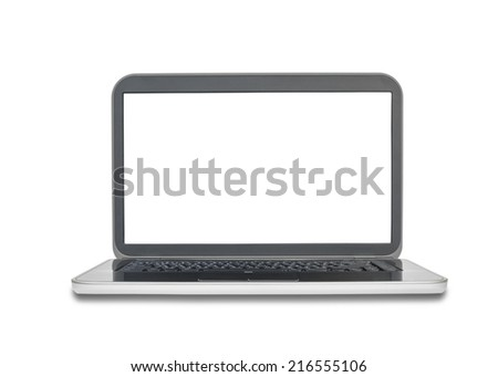Laptop or notebook with blank screen on white background - stock photo
