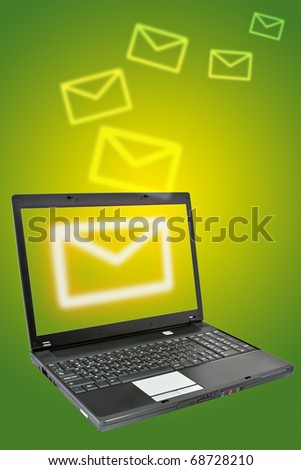 Laptop over green background. Communication concept.