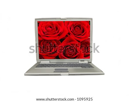 Laptop over white with red roses display
