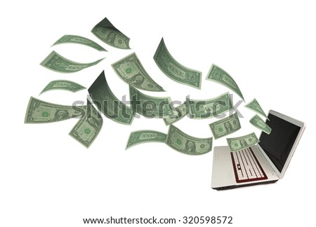laptop pc, dollars, income from internet - stock photo