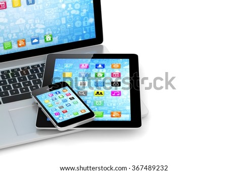 Laptop, phone and tablet pc.