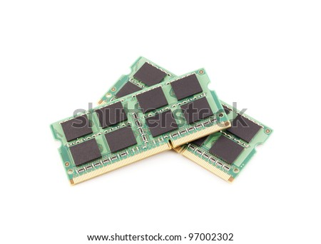 Laptop RAM memory modules isolated on white