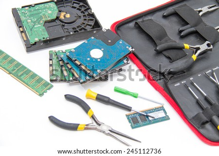 Laptop repair tools and technical support - stock photo