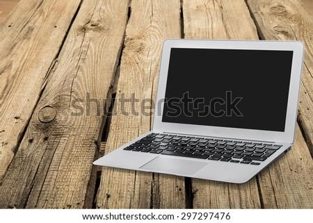 Laptop, screen, desktop. - stock photo