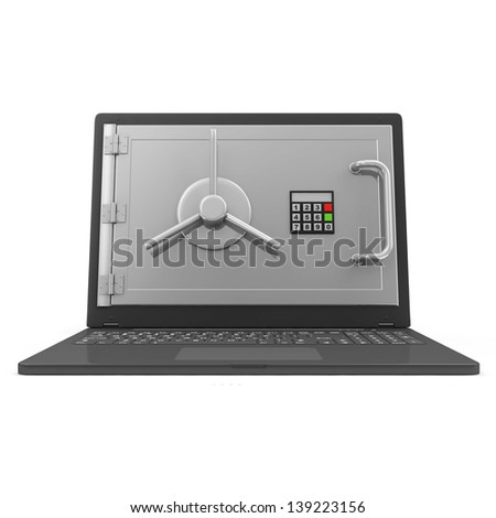 Laptop Security and Protection Concept. Laptop with Safe Door isolated on white background