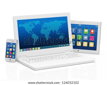 Laptop, Smart Phone and Tablet PC isolated on white background. (Animation for this image see in my footage gallery) - stock photo