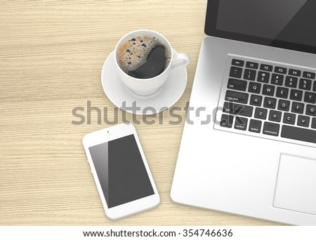 Laptop smartphone and coffee cup on wood
