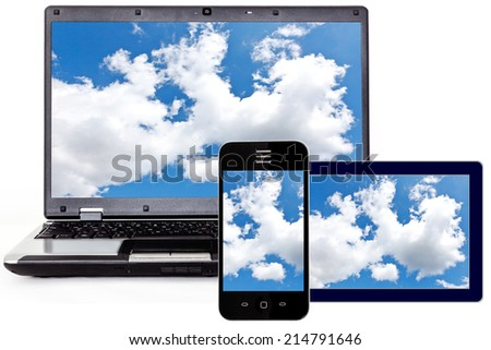 Laptop, Smartphone and Tablet PC - stock photo