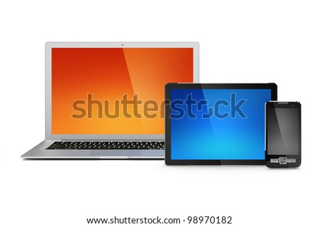 Laptop, tablet and mobile phone with blank screens for your content. Has outlines for device screens. - stock photo