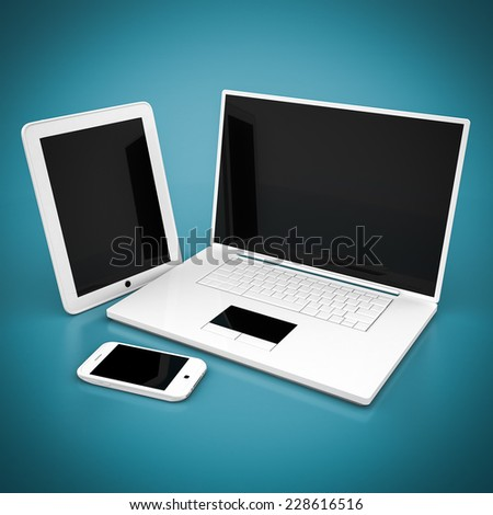 Laptop, tablet and smartphone on a blue background - stock photo