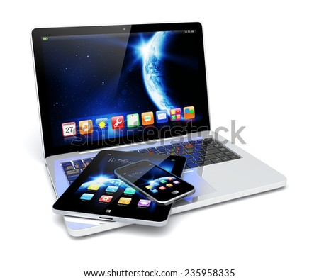 Laptop tablet pc computer mobile smartphone stock illustration laptop tablet pc computer and mobile smartphone with space dawn wallpaper and apps on a voltagebd Images